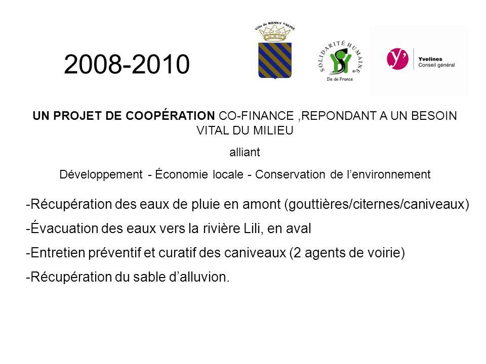 UN PROJET DE COOPÉRATION CO-FINANCE,REPONDANT A UN BESOIN VITAL DU MILIEU alliant Développement - Économie locale - Conservation de lenvironnement -Récupération des eaux de pluie en amont (gouttières/citernes/caniveaux) -Évacuation des eaux vers la rivière Lili, en aval -Entretien préventif et curatif des caniveaux (2 agents de voirie) -Récupération du sable dalluvion.