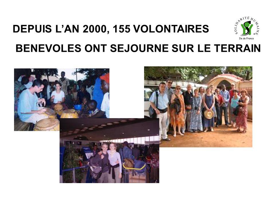 DEPUIS LAN 2000, 155 VOLONTAIRES BENEVOLES ONT SEJOURNE SUR LE TERRAIN