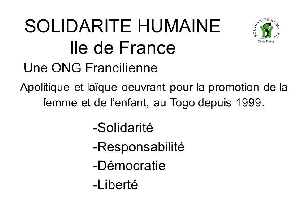 SOLIDARITE HUMAINE Ile de France Une ONG Francilienne -Solidarité -Responsabilité -Démocratie -Liberté Apolitique et laïque oeuvrant pour la promotion de la femme et de lenfant, au Togo depuis 1999.