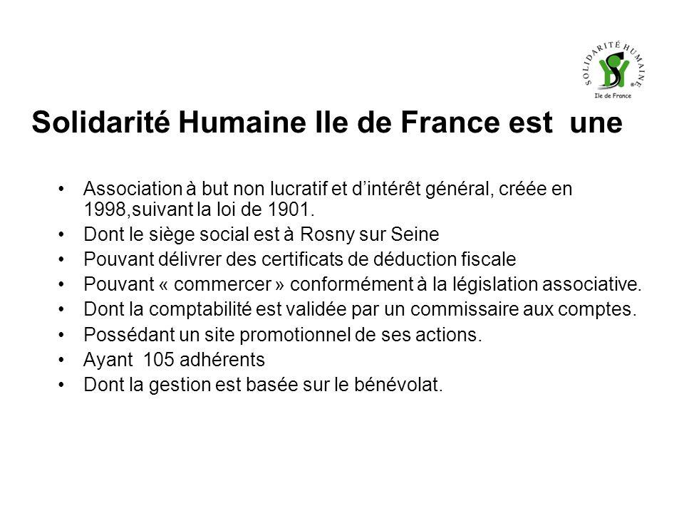 Solidarité Humaine Ile de France est une Association à but non lucratif et dintérêt général, créée en 1998,suivant la loi de 1901.