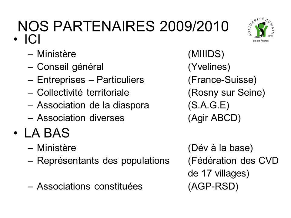 NOS PARTENAIRES 2009/2010 ICI –Ministère(MIIIDS) –Conseil général(Yvelines) –Entreprises – Particuliers(France-Suisse) –Collectivité territoriale(Rosny sur Seine) –Association de la diaspora(S.A.G.E) –Association diverses(Agir ABCD) LA BAS –Ministère(Dév à la base) –Représentants des populations(Fédération des CVD de 17 villages) –Associations constituées(AGP-RSD)