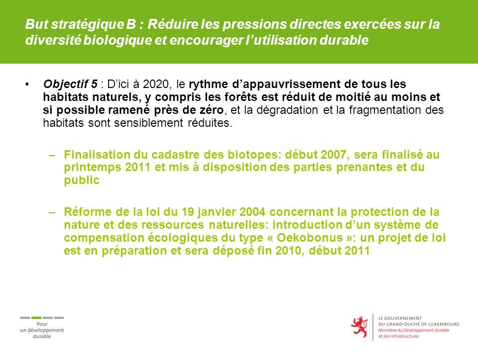 But stratégique B : Réduire les pressions directes exercées sur la diversité biologique et encourager lutilisation durable Objectif 5 : Dici à 2020, l