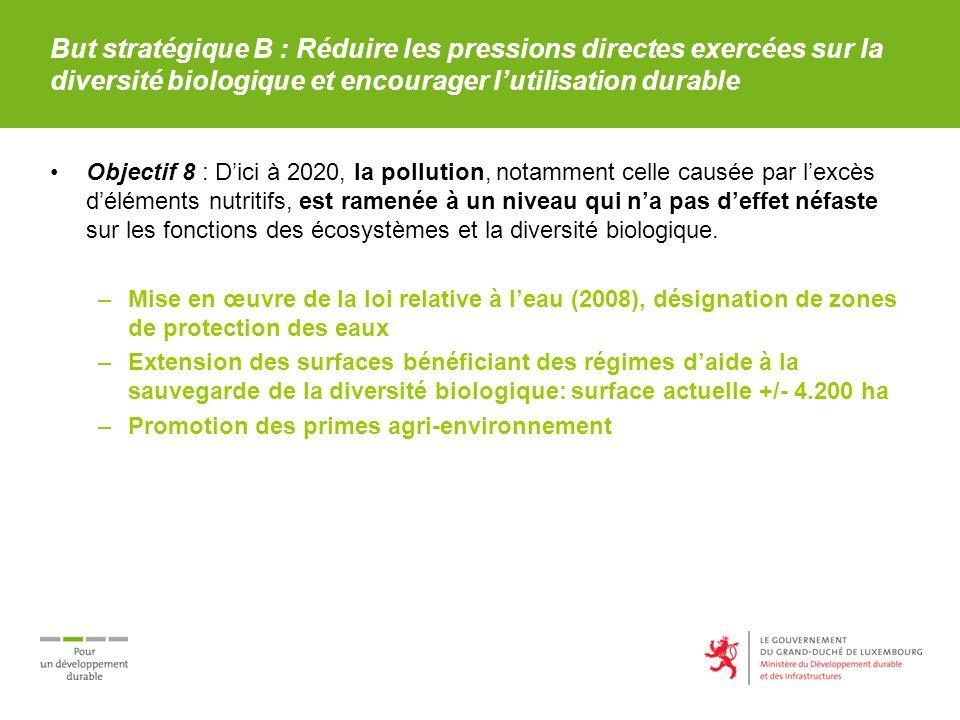 But stratégique B : Réduire les pressions directes exercées sur la diversité biologique et encourager lutilisation durable Objectif 8 : Dici à 2020, l