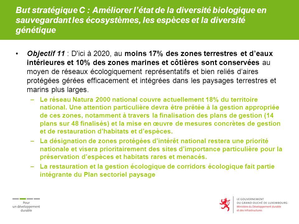 But stratégique C : Améliorer létat de la diversité biologique en sauvegardant les écosystèmes, les espèces et la diversité génétique Objectif 11 : D'