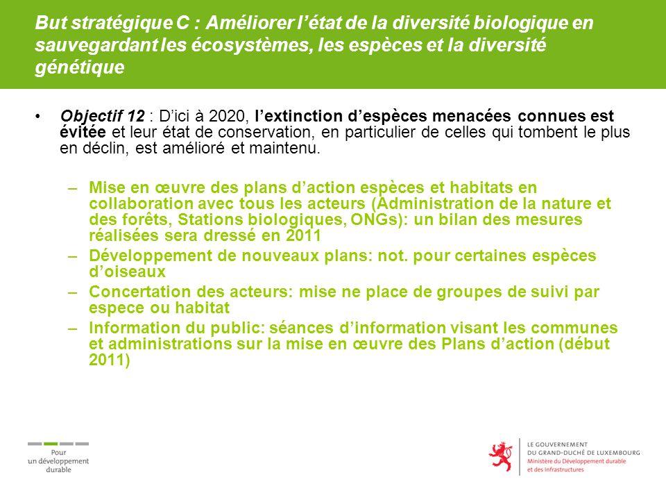 But stratégique C : Améliorer létat de la diversité biologique en sauvegardant les écosystèmes, les espèces et la diversité génétique Objectif 12 : Di