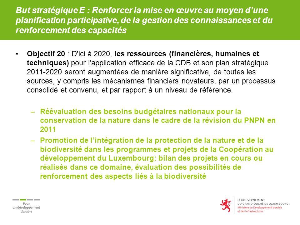 But stratégique E : Renforcer la mise en œuvre au moyen dune planification participative, de la gestion des connaissances et du renforcement des capacités Objectif 20 : D ici à 2020, les ressources (financières, humaines et techniques) pour l application efficace de la CDB et son plan stratégique 2011-2020 seront augmentées de manière significative, de toutes les sources, y compris les mécanismes financiers novateurs, par un processus consolidé et convenu, et par rapport à un niveau de référence.