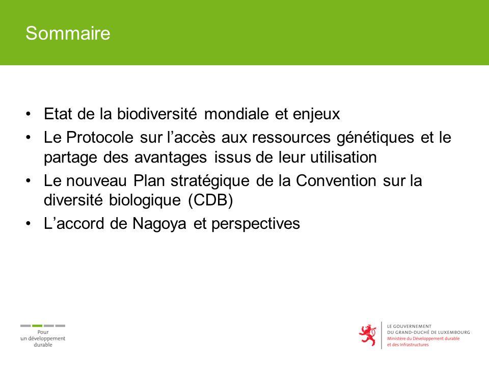 Sommaire Etat de la biodiversité mondiale et enjeux Le Protocole sur laccès aux ressources génétiques et le partage des avantages issus de leur utilisation Le nouveau Plan stratégique de la Convention sur la diversité biologique (CDB) Laccord de Nagoya et perspectives