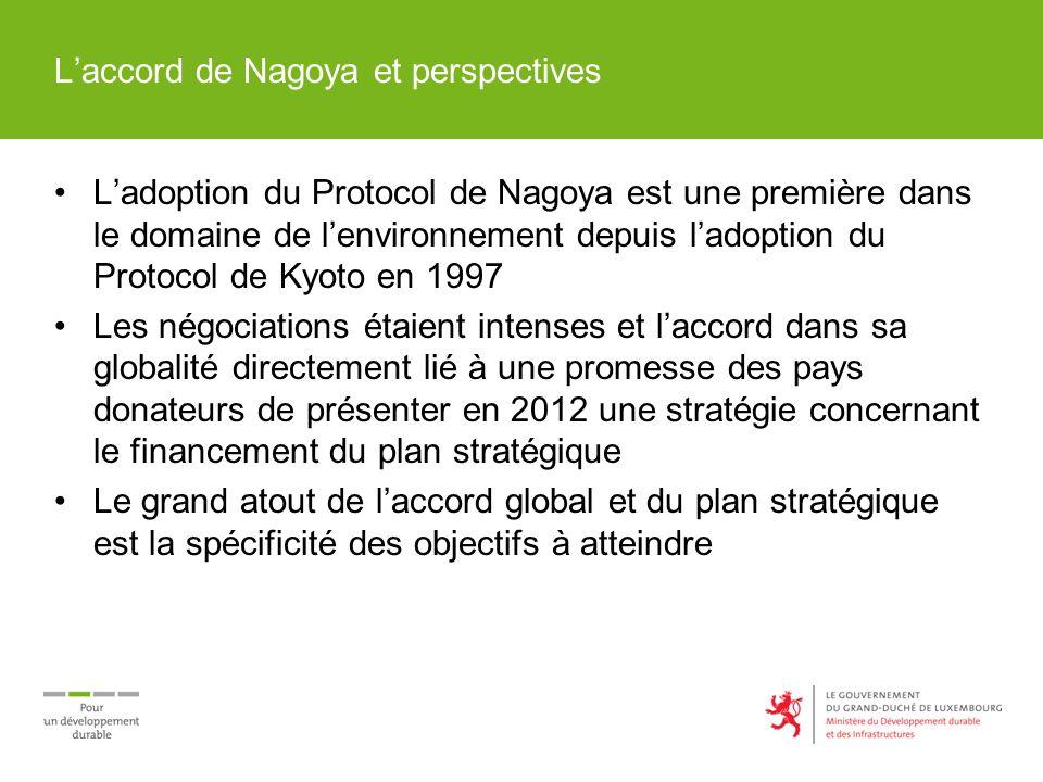 Laccord de Nagoya et perspectives Ladoption du Protocol de Nagoya est une première dans le domaine de lenvironnement depuis ladoption du Protocol de Kyoto en 1997 Les négociations étaient intenses et laccord dans sa globalité directement lié à une promesse des pays donateurs de présenter en 2012 une stratégie concernant le financement du plan stratégique Le grand atout de laccord global et du plan stratégique est la spécificité des objectifs à atteindre