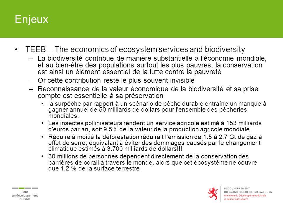 Enjeux TEEB – The economics of ecosystem services and biodiversity –La biodiversité contribue de manière substantielle à léconomie mondiale, et au bie