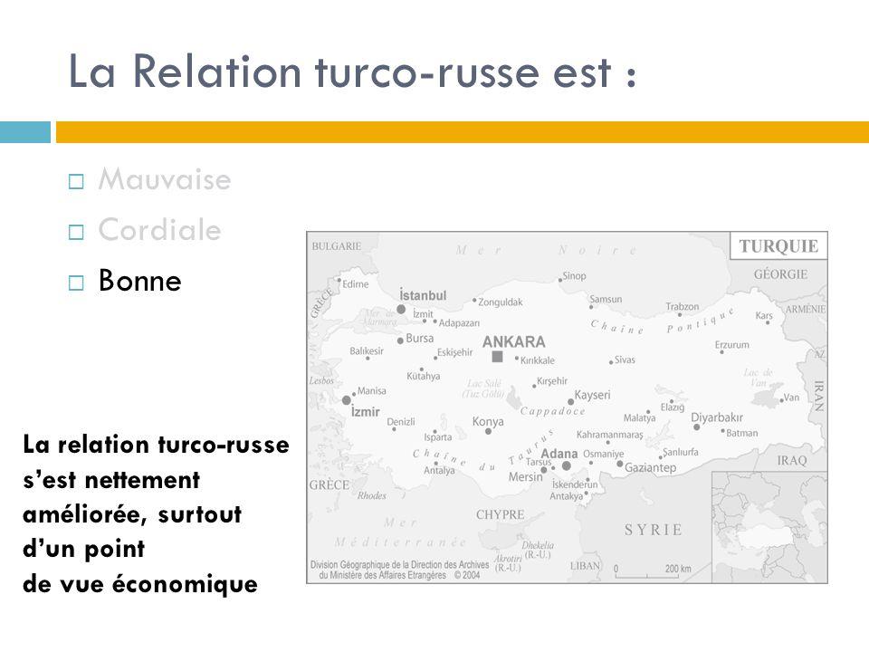 La Relation turco-russe est : Mauvaise Cordiale Bonne La relation turco-russe sest nettement améliorée, surtout dun point de vue économique