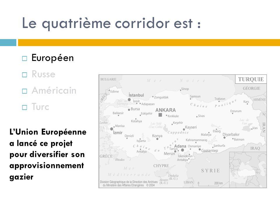 Le quatrième corridor est : Européen Russe Américain Turc LUnion Européenne a lancé ce projet pour diversifier son approvisionnement gazier