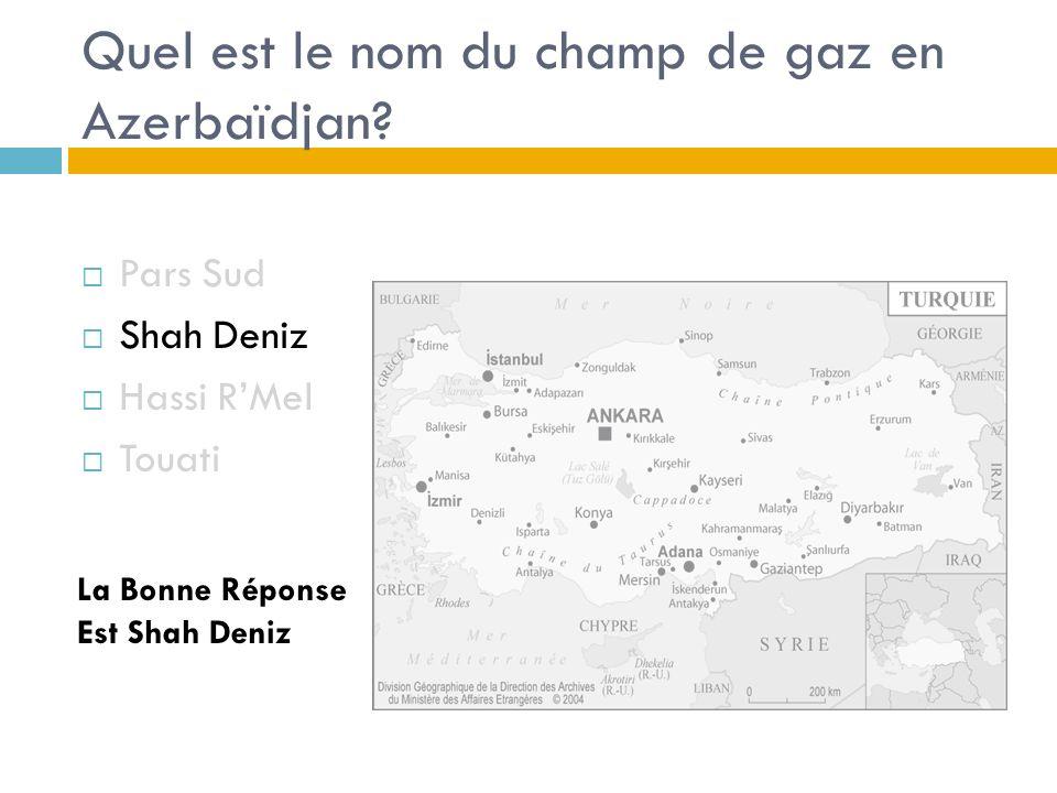 Quel est le nom du champ de gaz en Azerbaïdjan.