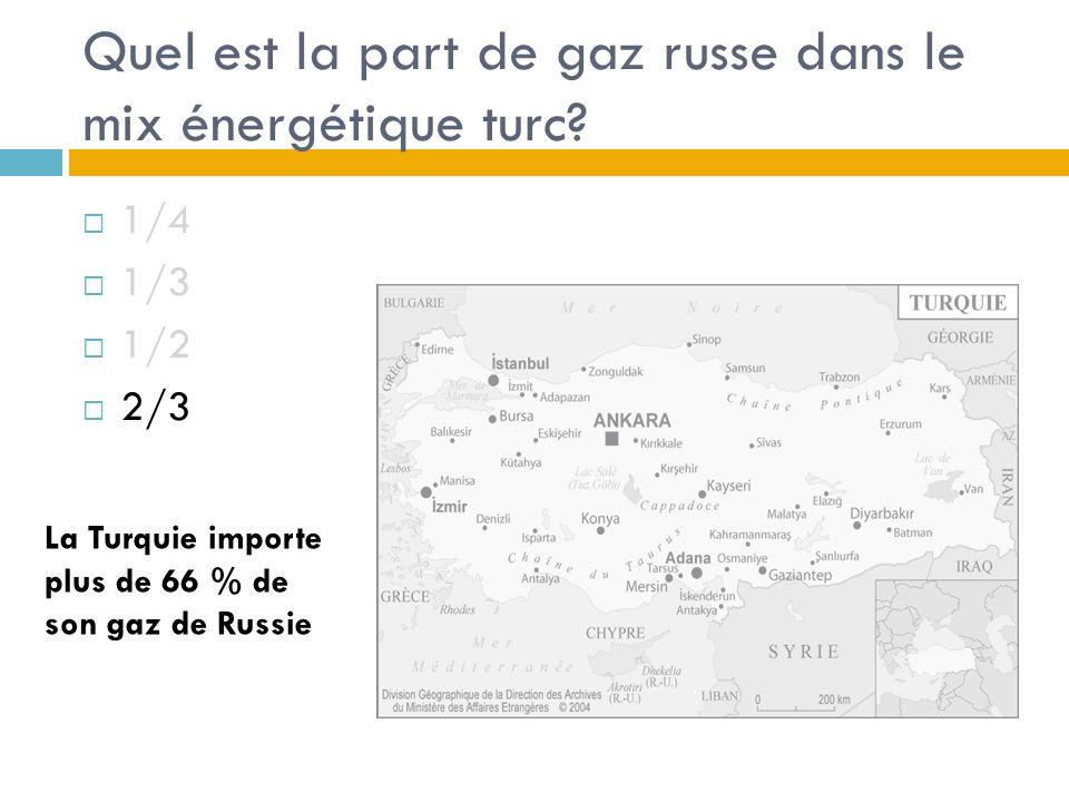 Quel est la part de gaz russe dans le mix énergétique turc.