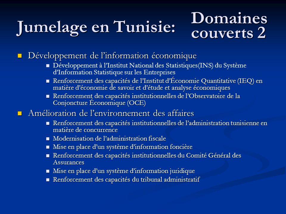 Jumelage en Tunisie: Développement de linformation économique Développement de linformation économique Développement à lInstitut National des Statisti