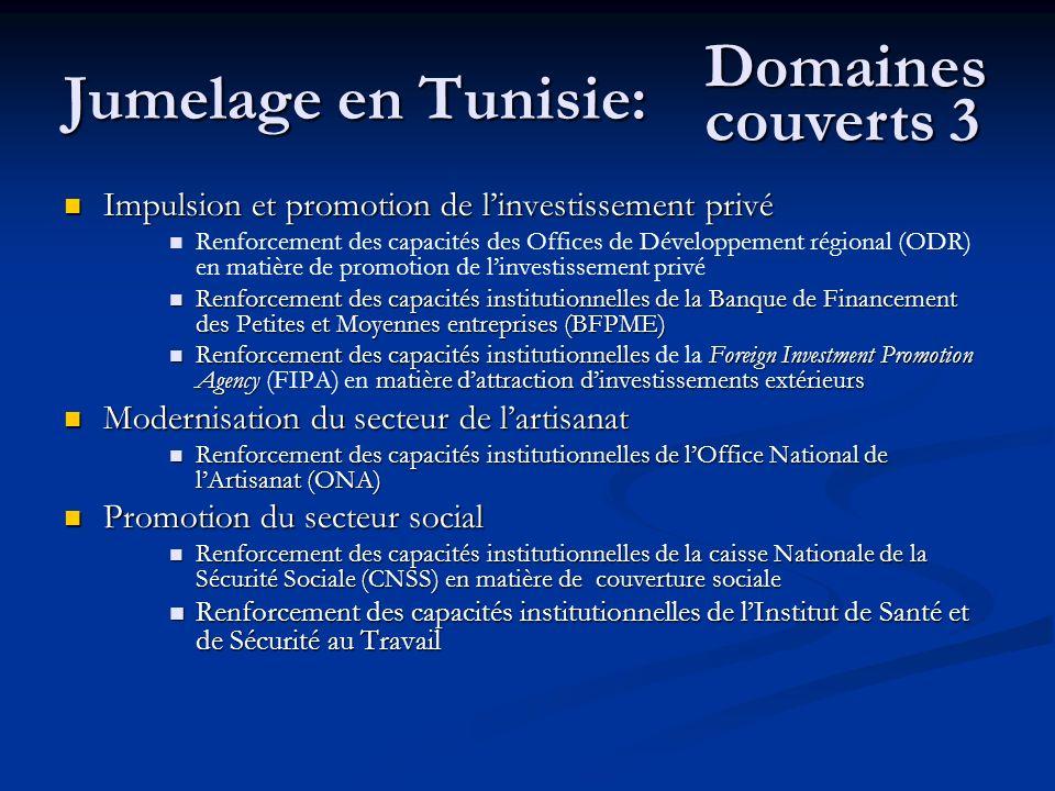Jumelage en Tunisie: Impulsion et promotion de linvestissement privé Impulsion et promotion de linvestissement privé Renforcement des capacités des Of