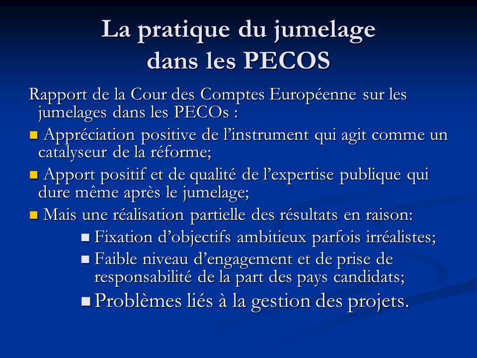 La pratique du jumelage dans les PECOS Rapport de la Cour des Comptes Européenne sur les jumelages dans les PECOs : Appréciation positive de linstrume