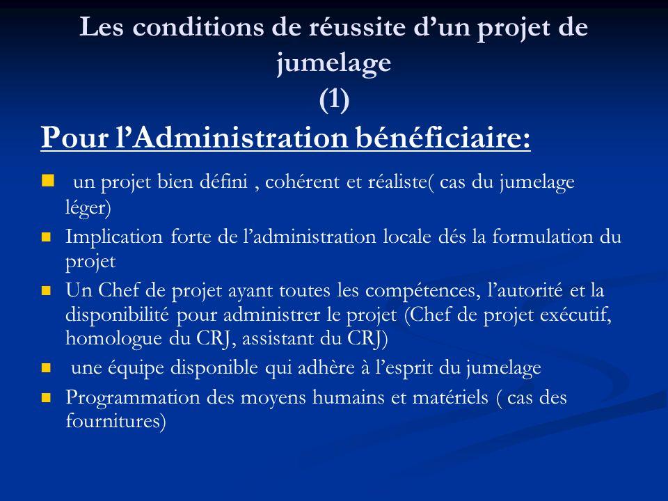 Les conditions de réussite dun projet de jumelage (1) Pour lAdministration bénéficiaire: un projet bien défini, cohérent et réaliste( cas du jumelage