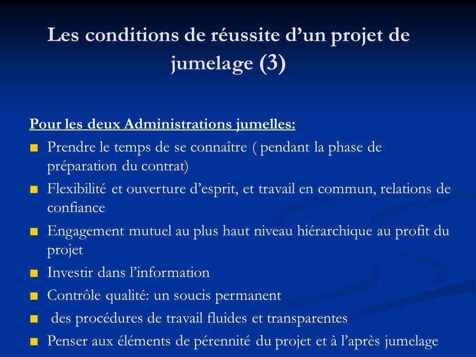 Pour les deux Administrations jumelles: Prendre le temps de se connaître ( pendant la phase de préparation du contrat) Flexibilité et ouverture despri