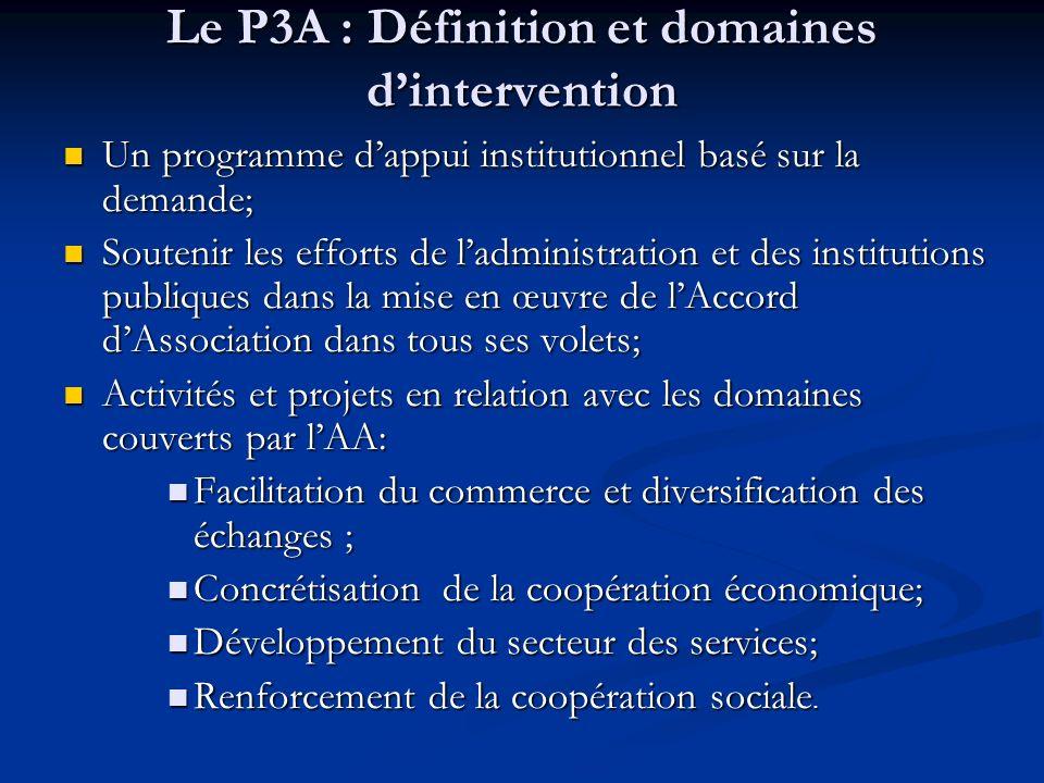 Le P3A : Définition et domaines dintervention Un programme dappui institutionnel basé sur la demande; Un programme dappui institutionnel basé sur la d