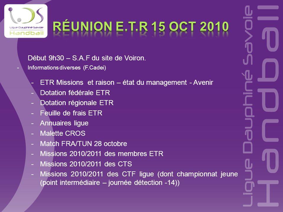 Début 9h30 – S.A.F du site de Voiron. -Informations diverses (F.Cadei) -ETR Missions et raison – état du management - Avenir -Dotation fédérale ETR -D