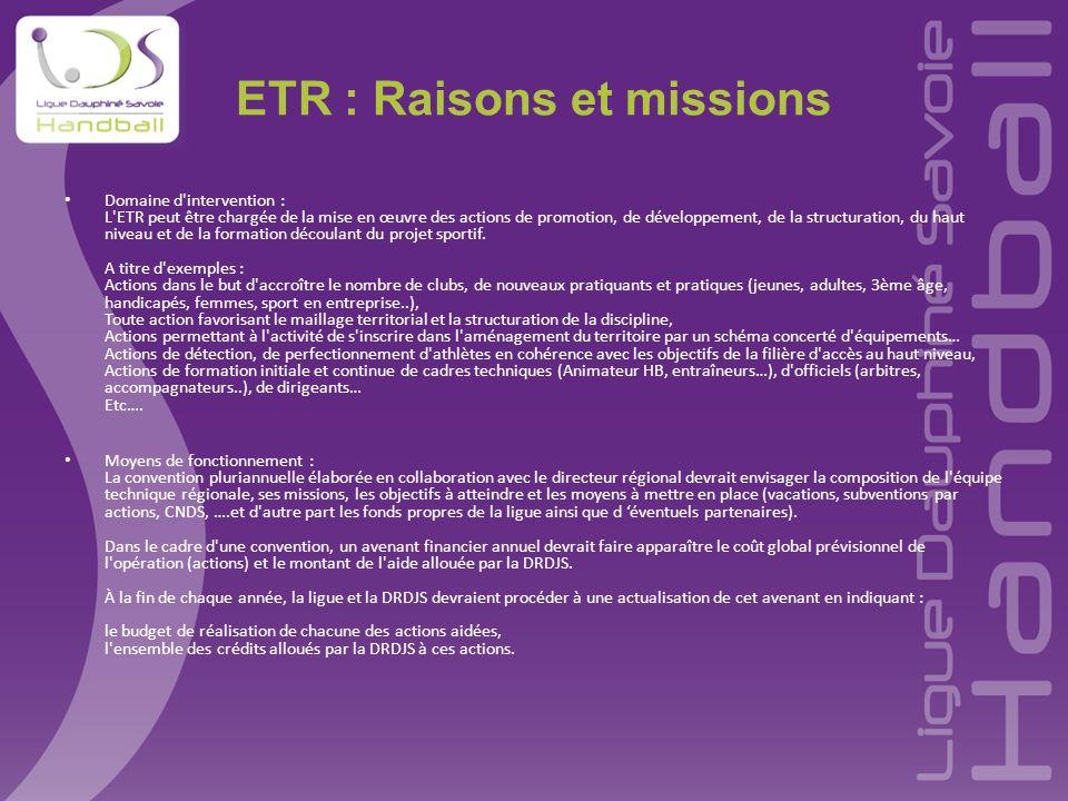 ETR : Raisons et missions Domaine d'intervention : L'ETR peut être chargée de la mise en œuvre des actions de promotion, de développement, de la struc
