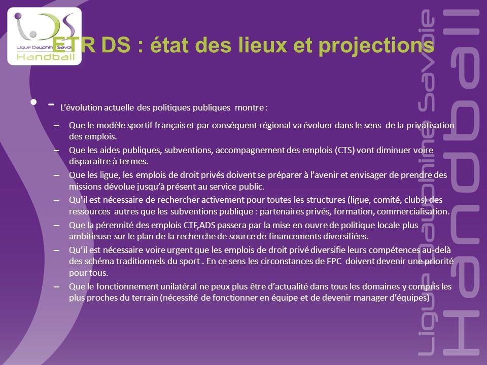 ETR DS : état des lieux et projections - Lévolution actuelle des politiques publiques montre : – Que le modèle sportif français et par conséquent régi