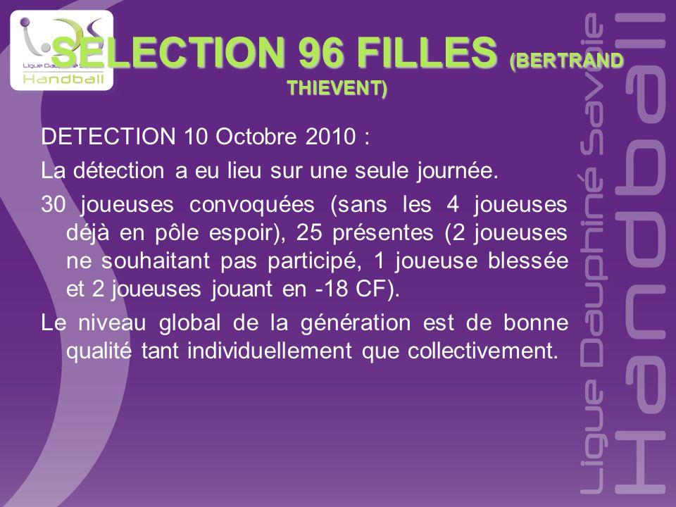 SELECTION 96 FILLES (BERTRAND THIEVENT) DETECTION 10 Octobre 2010 : La détection a eu lieu sur une seule journée. 30 joueuses convoquées (sans les 4 j