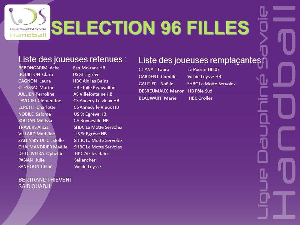 SELECTION 96 FILLES Liste des joueuses retenues : BEBONGARIM Acha Esp Moirans HB BOUILLON Clara US ST Egrève CAGNON Laura HBC Aix les Bains CLEYSSAC M