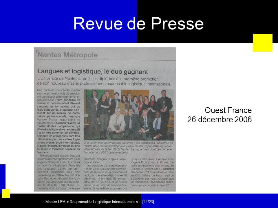 Master LEA « Responsable Logistique Internationale » – [11/23] Revue de Presse Ouest France 26 décembre 2006