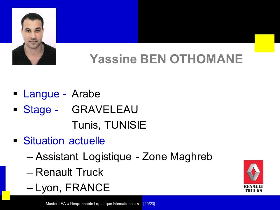 Master LEA « Responsable Logistique Internationale » – [15/23] Yassine BEN OTHOMANE Langue - Arabe Stage - GRAVELEAU Tunis, TUNISIE Situation actuelle