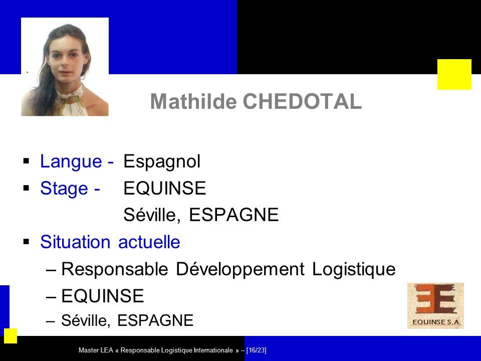 Master LEA « Responsable Logistique Internationale » – [16/23] Mathilde CHEDOTAL Langue - Espagnol Stage - EQUINSE Séville, ESPAGNE Situation actuelle