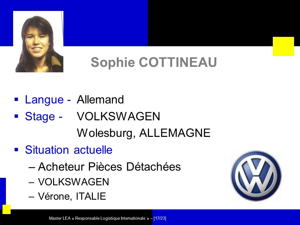 Master LEA « Responsable Logistique Internationale » – [17/23] Sophie COTTINEAU Langue - Allemand Stage - VOLKSWAGEN Wolesburg, ALLEMAGNE Situation ac