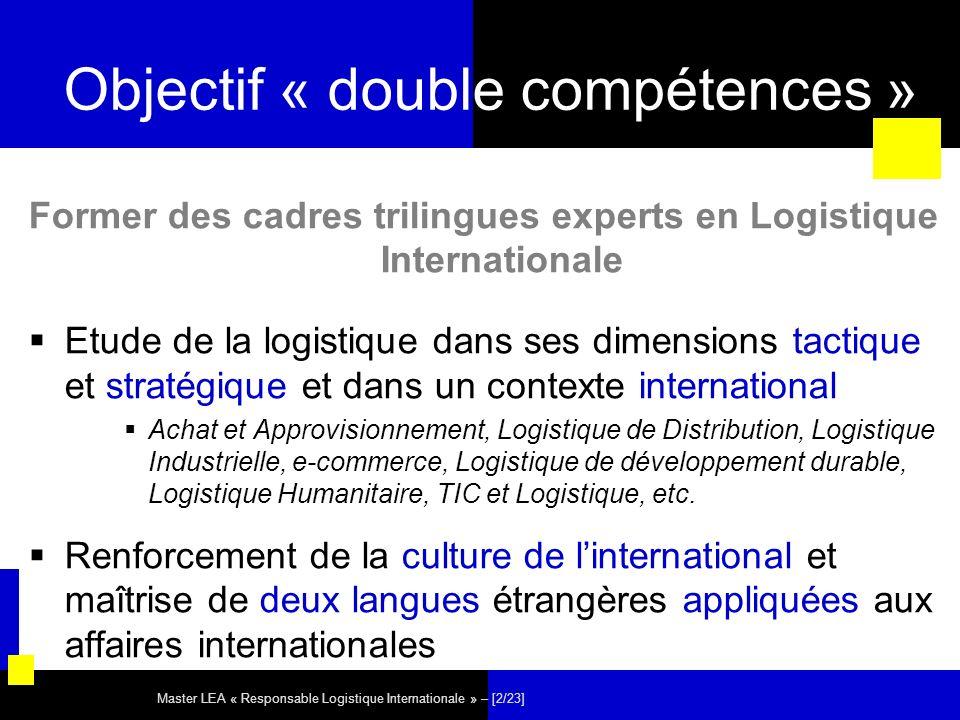 Master LEA « Responsable Logistique Internationale » – [2/23] Objectif « double compétences » Former des cadres trilingues experts en Logistique Inter