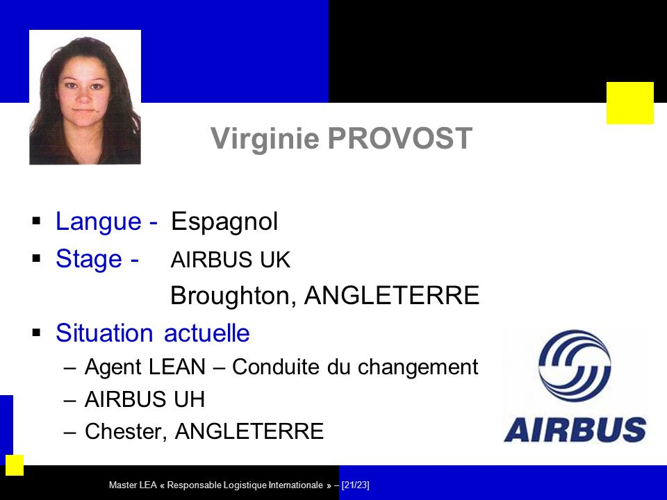 Master LEA « Responsable Logistique Internationale » – [21/23] Virginie PROVOST Langue - Espagnol Stage - AIRBUS UK Broughton, ANGLETERRE Situation ac