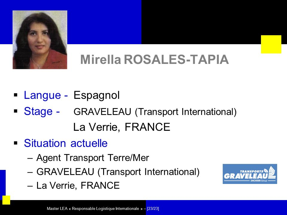 Master LEA « Responsable Logistique Internationale » – [23/23] Mirella ROSALES-TAPIA Langue - Espagnol Stage - GRAVELEAU (Transport International) La