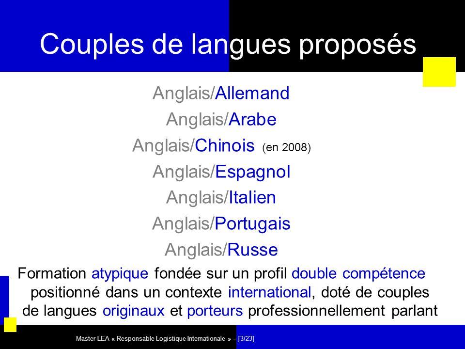 Master LEA « Responsable Logistique Internationale » – [3/23] Couples de langues proposés Anglais/Allemand Anglais/Arabe Anglais/Chinois (en 2008) Ang