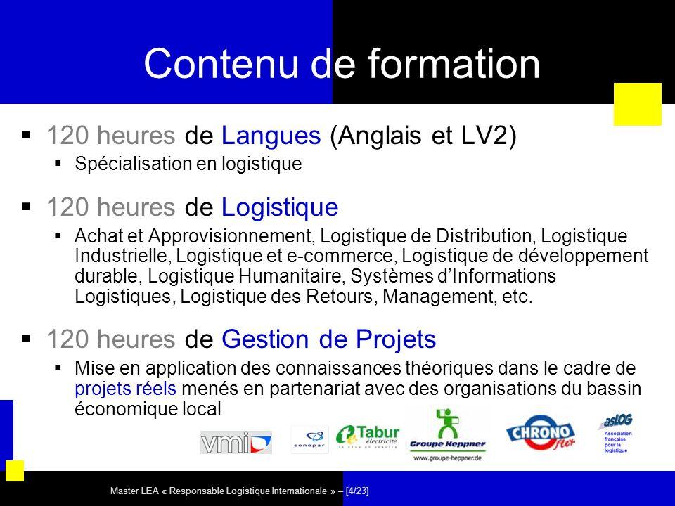 Master LEA « Responsable Logistique Internationale » – [5/23] Organisation de lannée Semestre 1 12 semaines à Nantes - Cours Théoriques UE Langues (60h) – 6 heures / semaines UE Logistique (120h) – 10 heures / semaines UE Matières Applications (50h) – 4 heures / semaines Semestre 2 6 semaines à Nantes - Projets Tuteurés et Langues en Situations Professionnelles dans le cadre de projets de développement logistique à dimension internationale 12 semaines (minimum) à létranger