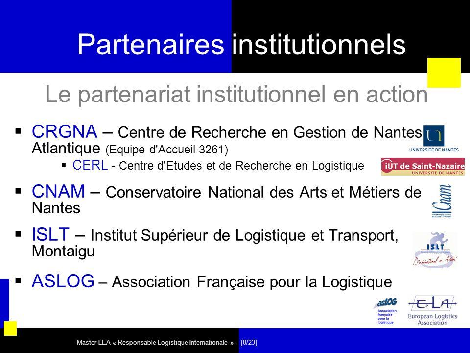 Master LEA « Responsable Logistique Internationale » – [8/23] Partenaires institutionnels CRGNA – Centre de Recherche en Gestion de Nantes Atlantique