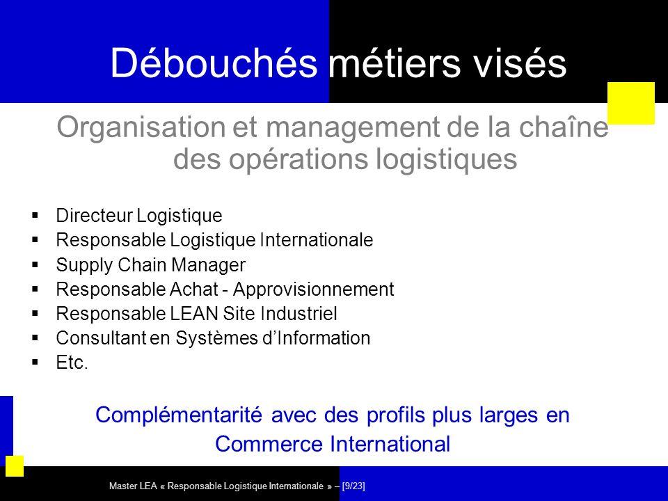 Master LEA « Responsable Logistique Internationale » – [9/23] Débouchés métiers visés Organisation et management de la chaîne des opérations logistiqu