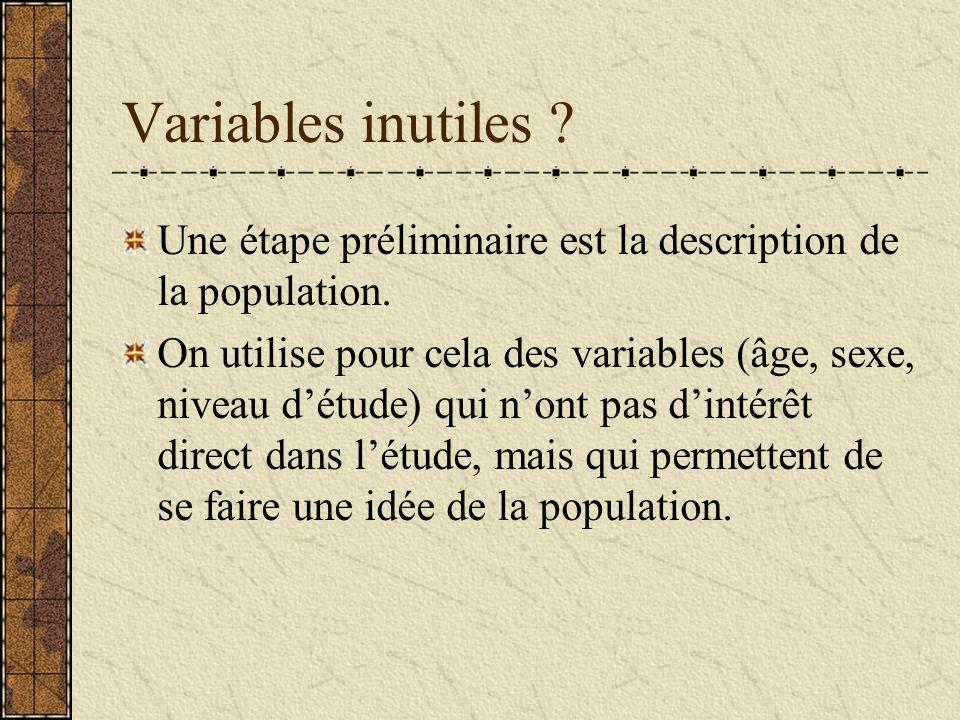 Variables inutiles ? Une étape préliminaire est la description de la population. On utilise pour cela des variables (âge, sexe, niveau détude) qui non