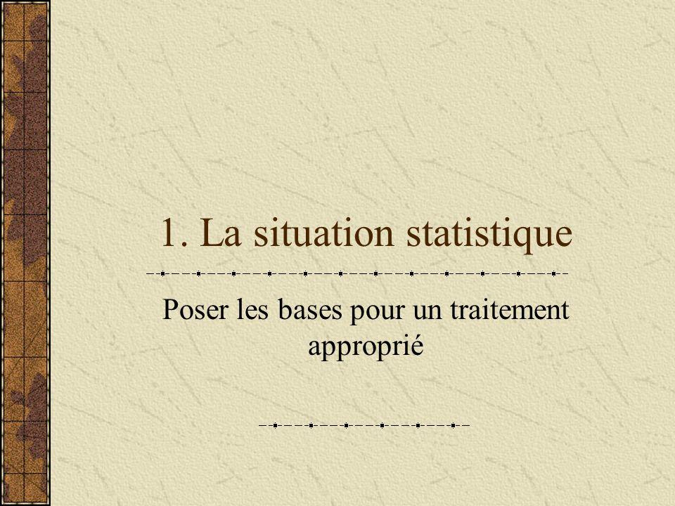 1. La situation statistique Poser les bases pour un traitement approprié