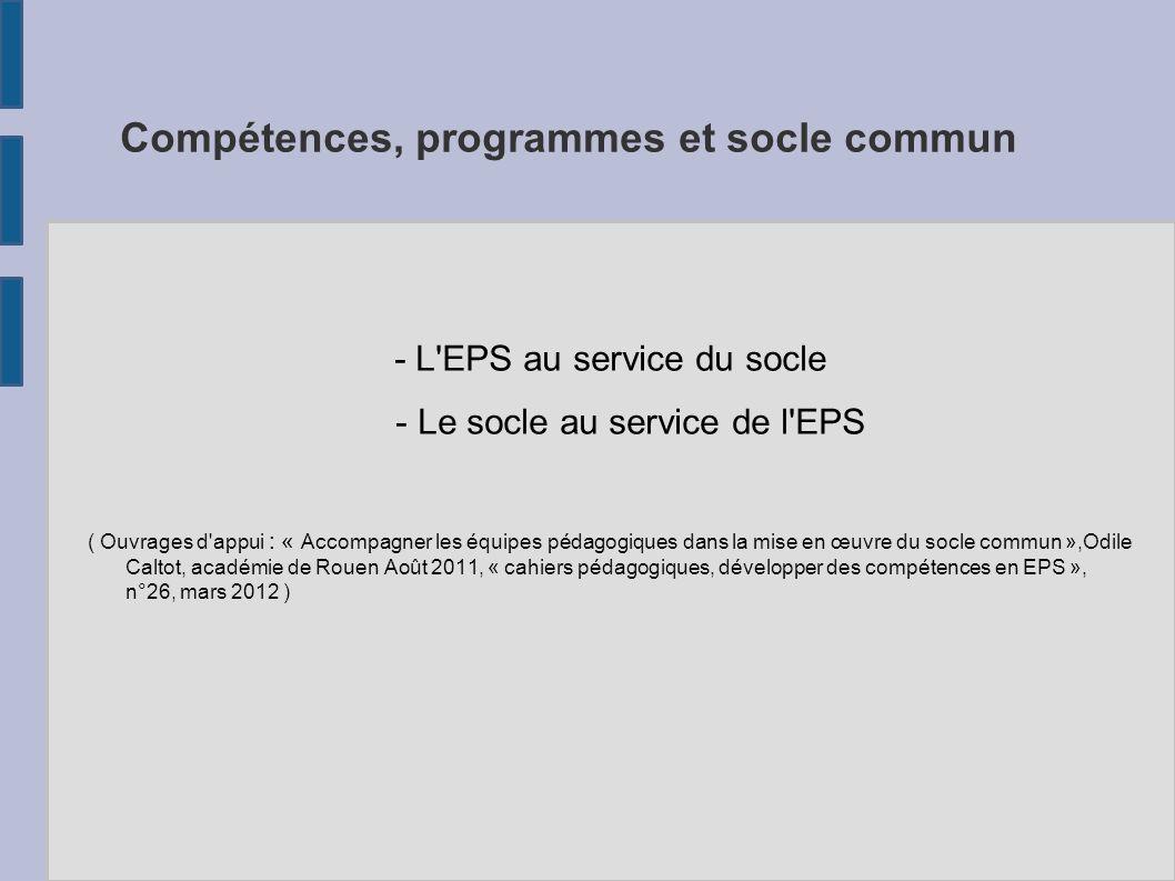 Compétences, programmes et socle commun - L'EPS au service du socle - Le socle au service de l'EPS ( Ouvrages d'appui : « Accompagner les équipes péda