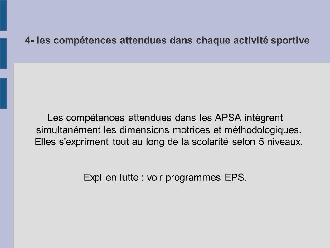 4- les compétences attendues dans chaque activité sportive Les compétences attendues dans les APSA intègrent simultanément les dimensions motrices et