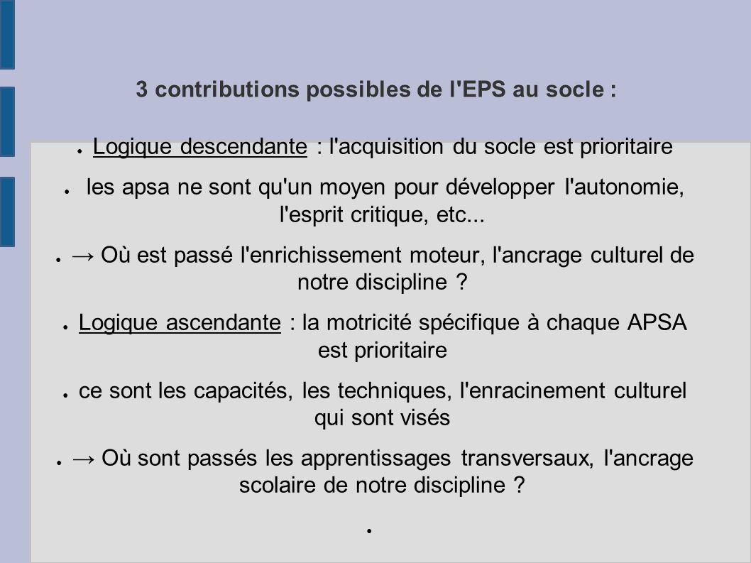 3 contributions possibles de l'EPS au socle : Logique descendante : l'acquisition du socle est prioritaire les apsa ne sont qu'un moyen pour développe
