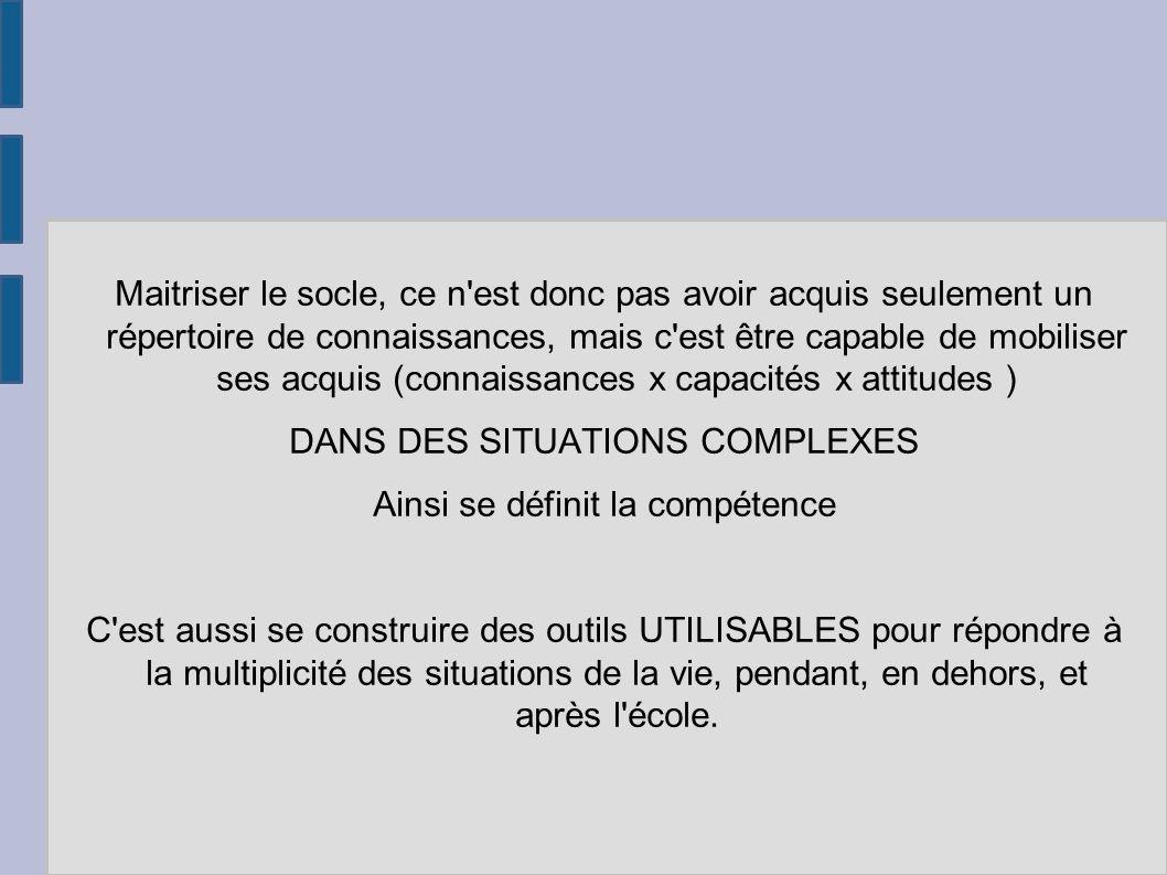 une compétence fondamentale (expl : maitrise la la langue française) n a de sens que si elle se développe à travers plusieurs disciplines Une seule discipline contribue au développement de plusieurs compétences .