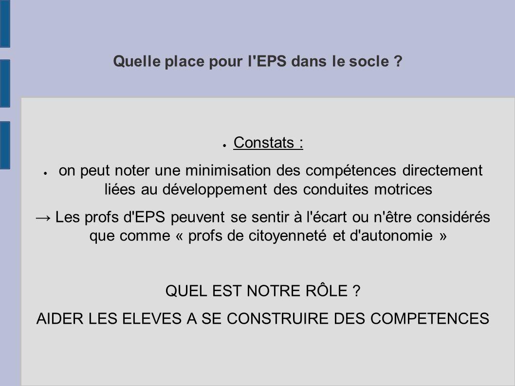 Quelle place pour l'EPS dans le socle ? Constats : on peut noter une minimisation des compétences directement liées au développement des conduites mot