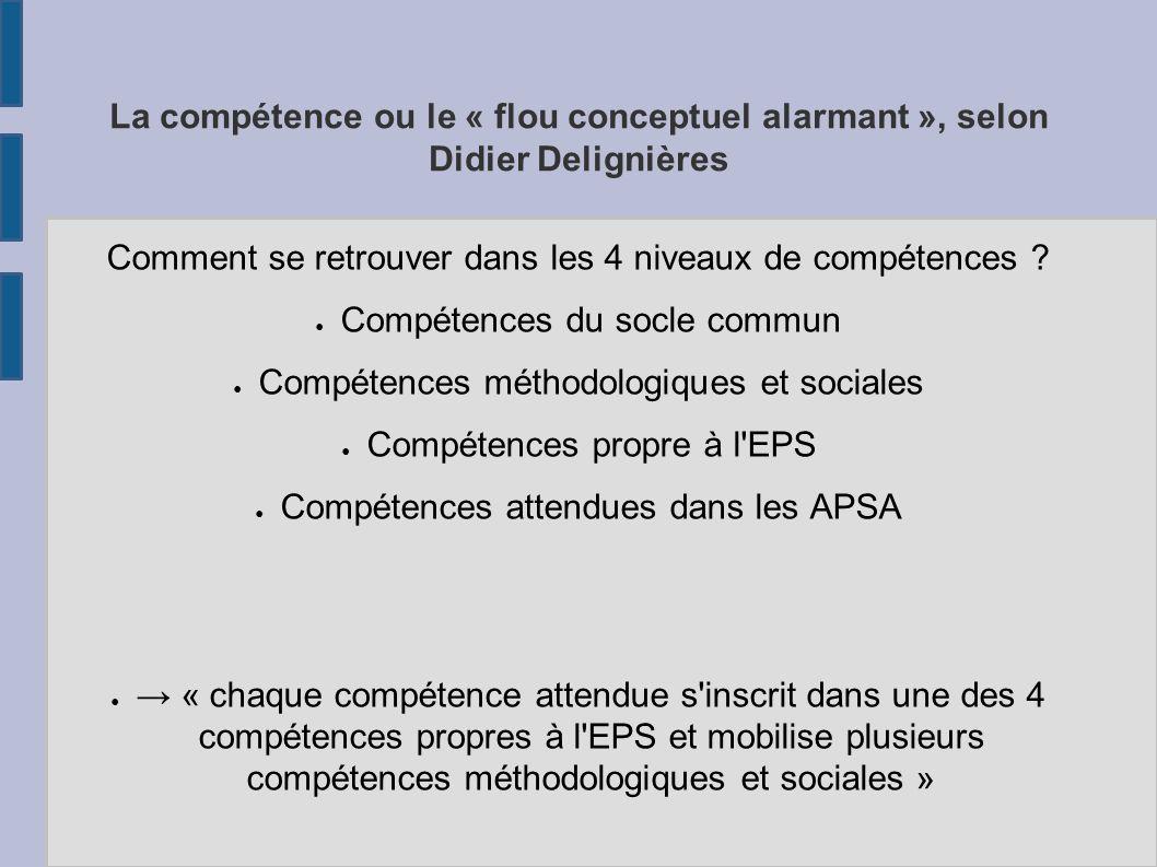 La compétence ou le « flou conceptuel alarmant », selon Didier Delignières Comment se retrouver dans les 4 niveaux de compétences ? Compétences du soc