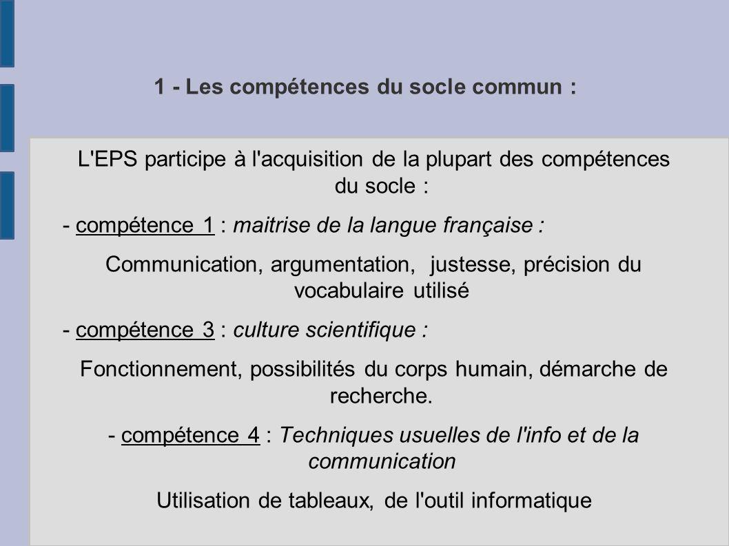 1 - Les compétences du socle commun : L'EPS participe à l'acquisition de la plupart des compétences du socle : - compétence 1 : maitrise de la langue
