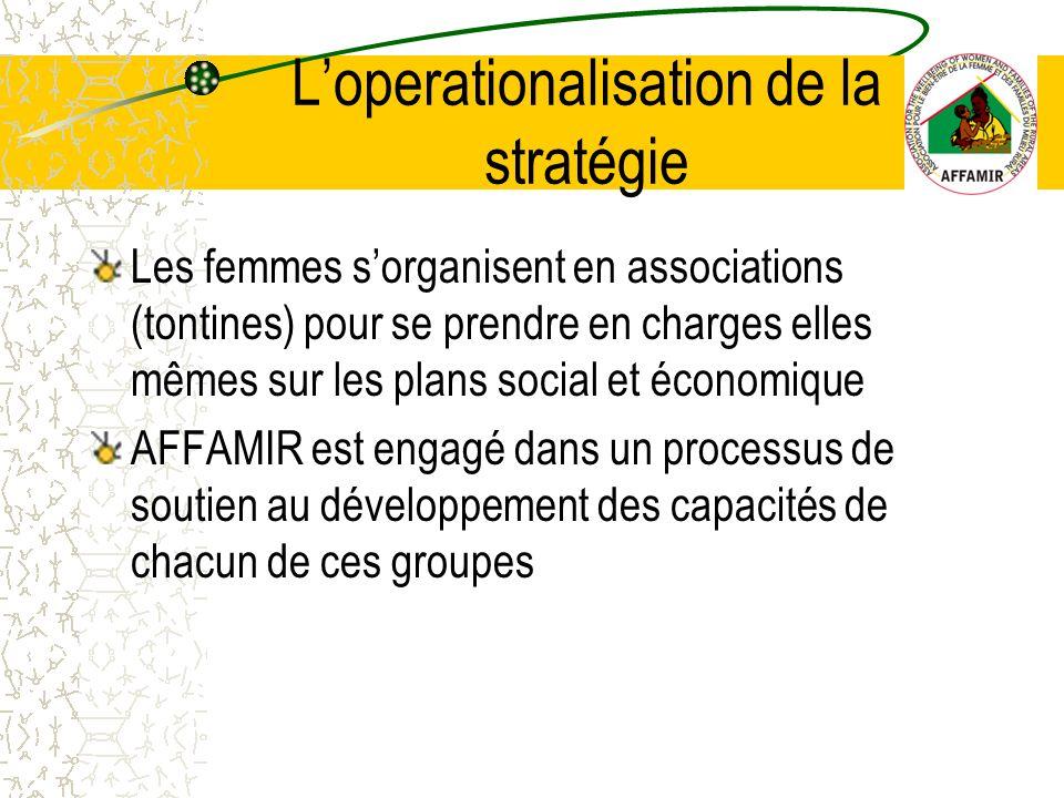 Les femmes sorganisent en associations (tontines) pour se prendre en charges elles mêmes sur les plans social et économique AFFAMIR est engagé dans un processus de soutien au développement des capacités de chacun de ces groupes Loperationalisation de la stratégie