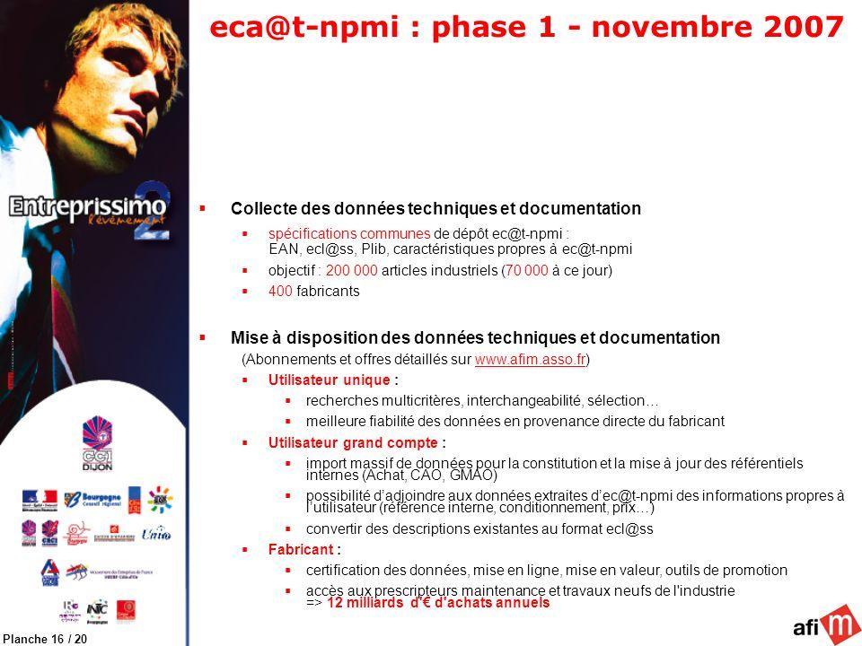 Planche 16 / 20 eca@t-npmi : phase 1 - novembre 2007 Collecte des données techniques et documentation spécifications communes de dépôt ec@t-npmi : EAN